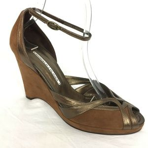 Donald Pliner Wedge 8.5 Brown Suede Leather Bronze